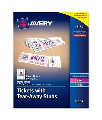 NEW Avery Printable Tickets tear-Away Stubs, Raffle or admission, 200 tickets