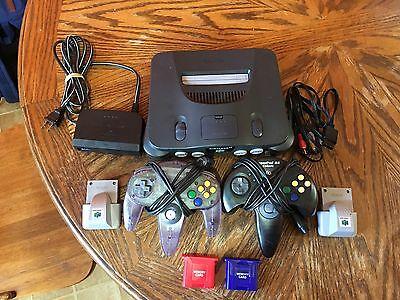 Nintendo 64 Console (NTSC) N64 Entertainment System 2 Controller And Extras