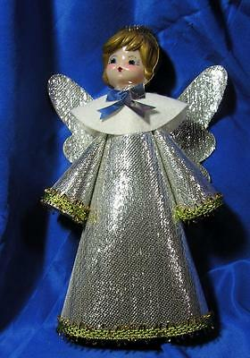 "Vtg 1960's Silver N Gold Cardboard  Angel Xmas Tree Topper 7"" Ex Condition"