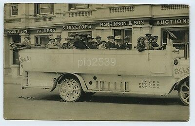 Photo Postcard Of Large Car / Charabanc / Works Outing