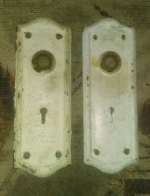 Two old chippy paint door back plates