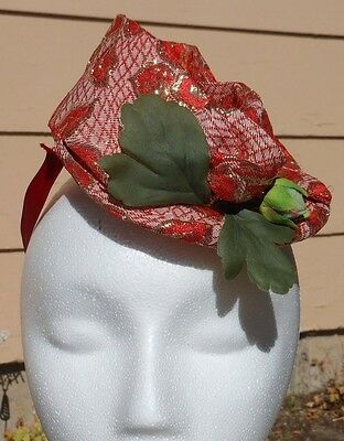1950s Style Red and Gold Rockabilly Fascinator Topper Hat Handmade