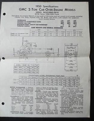 1950 GMC  2-Ton Truck Cab-Over Engine Models 2 Page Specifications Sheet — Rare!