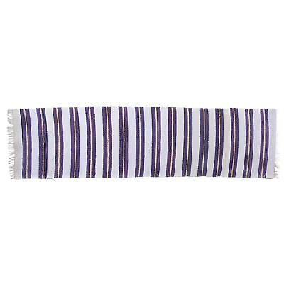 Cute Swedish Handwoven Purple & White Rug - 2′9″ × 10′5″