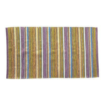 Elegant Swedish Handwoven Lilac & Green Rug - 4′3″ × 7′4″