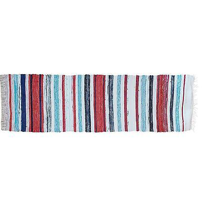 """Lovable Swedish Red & Blue Striped Rug - 7' 3"""" X 2' 1"""""""