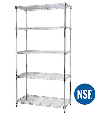 5 Tire Shelf Adjustable Steel Metal Wire Shelving Storage Rack 1750 Lbs Chrome