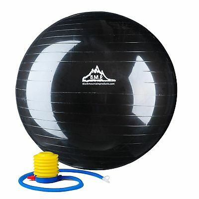 Black Mountain Products Anti Burst Exercise Stability Ball with Pump, Black,...
