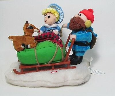 Gemmy Animated Rudolph the Red Nosed Reindeer and Santa in Sleigh