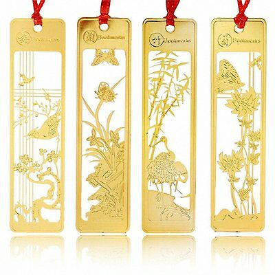 Chinese Style Metal Bookmarks 4 Pcs JoyTong Golden Hollow Mini Creative