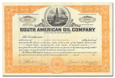 South American Oil Company Stock Certificate