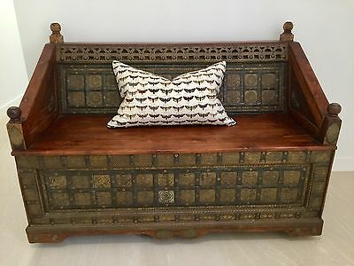 Beautiful Indian seat covered with brass and iron decoration
