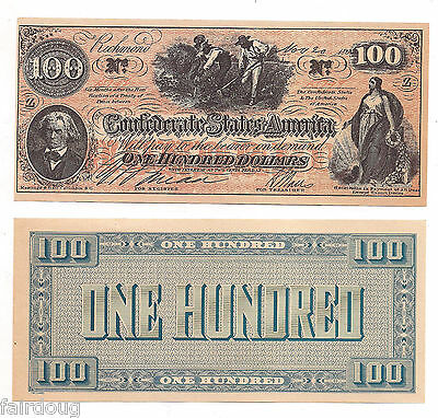 1862 Confederate States $100 One Hundred Dollar Bill Civil War Note Reproduction