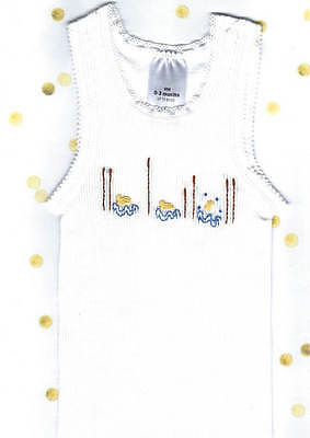 Hand Embroidered Baby White  Duck Singlet / Vest Size 00