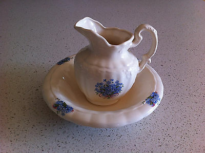 Cream & Blue floral BOWL and JUG with elaborate spout & handle ~VGC
