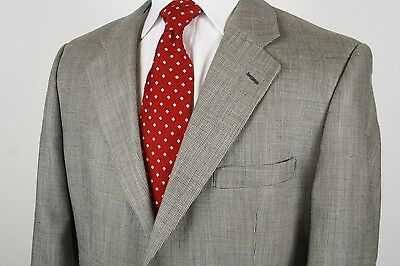 Brooks Brothers  Two Button Sport Coat / Blazer Houndstooth Silk Linen Wool 44R