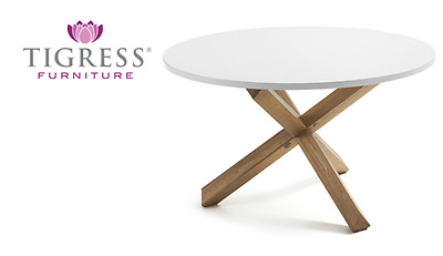 """""""Jaqueline"""" Solid Oak Round Dining Table with White Top 120cm"""