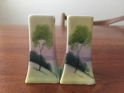 Art Nouveau Stylized Trees Hand Painted Made in Japan SALT & PEPPER SHAKERS