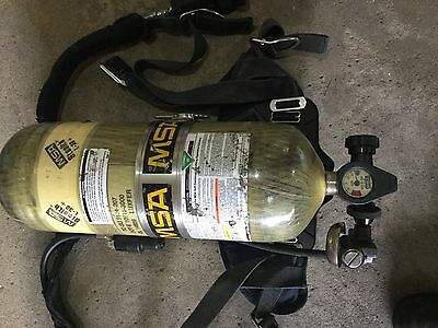 MSA 2216 Firefighter SCBA Air Pack Including Mask and Bottle and PASS.