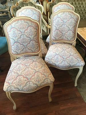 Set Of 4 French Provincial Louis Style Carved Shield Back Chairs