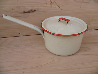Vintage Old White And Red Enamel Ware Kitchen Pot, Old Pot