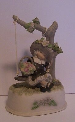 Girl on Tree Swing Flowers Musical Pretty As Picture Music Box Kim Anderson