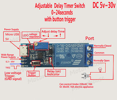 DC 5v 12v 24v Adjustable Trigger Delay Time Turn on Switch Timer Relay Module