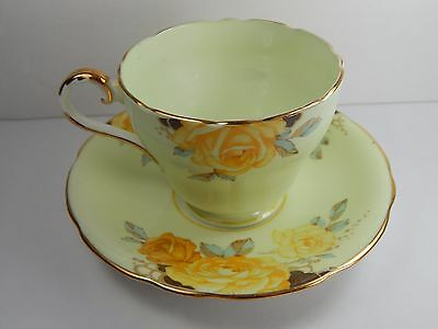 Vintage Aynsley Tea Cup and Saucer. Yellow Rose. Light Green.