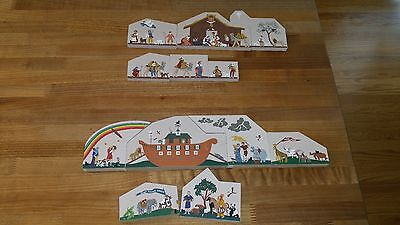 Cats Meow Village Wooden lot of 12 Noah's ark Nativity 1994-1997 religious Bible