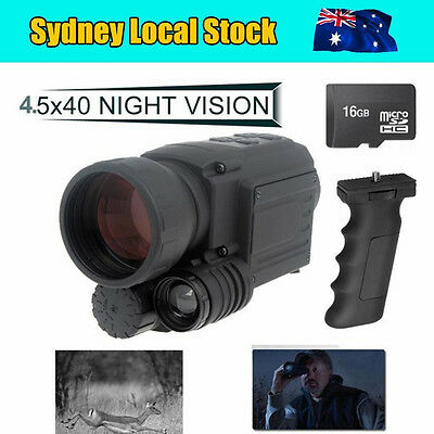 4.5X IR Video Record Monocular Night Vision 200M Goggles Security Cam+16G+Holder