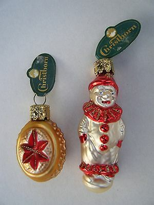 Christborn Ornaments Lot of 2 Glass Ornaments Clown Oval Reflector Ball NWT!