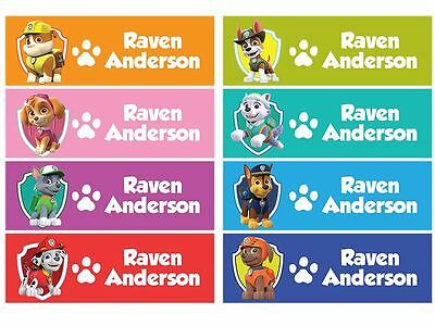 60 Personalized kid Name back to school Stickers cute 8 patterns paw patrol skye