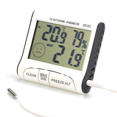 LCD Digital Indoor Outdoor Weather Thermometer Hygrometer Humidity Meters C/F