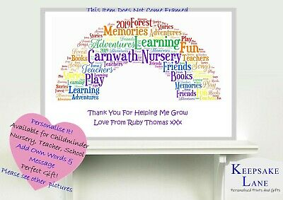 Thank You Rainbow Gift Personalised Nursery Childminder Word art Teacher Leaving