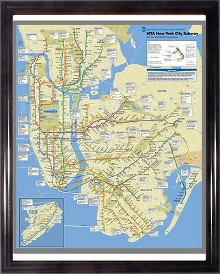 New York City NYC MTA Subway Map Great For Framed Art (Free & Fast Shipping)