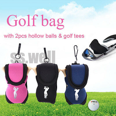 Mini Practice Elastic Neoprene Golf Ball Holder Bag with 2 Golf Balls and 4 Tees