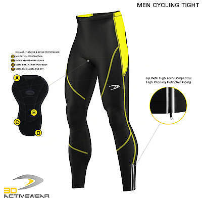 Mens Compression Cycling Ziper Tights Coolmax® Padded Cycle Leggings Long Pants