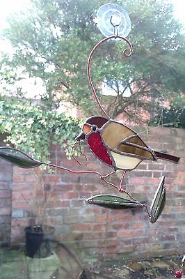 Stained glass Robin window hanging