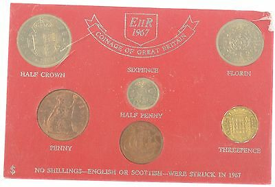 1967 QEII 6 COIN YEAR SET LAST OF THE PRE DECIMAL COINS - cased