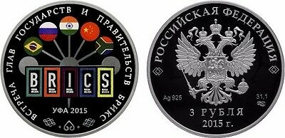 3 Rubel Russland PP 1 Oz Silber 2015 BRICS Summit in Ufa Proof