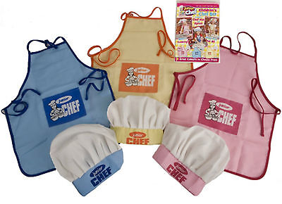 Junior Chef Apron & And Hat Set -Cooking/kitchen -Pink/blue/yellow-Kids/children