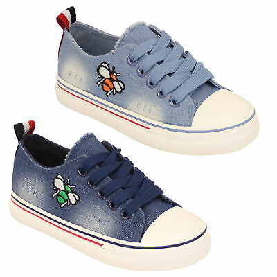 boys girls denim pumps kids bubble bee trainers lace up shoes casual Summer