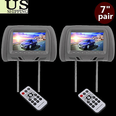 "Pair Car 7"" Wide Screen Universal Led Video Headrest Pillow Grey Monitors Set B2"