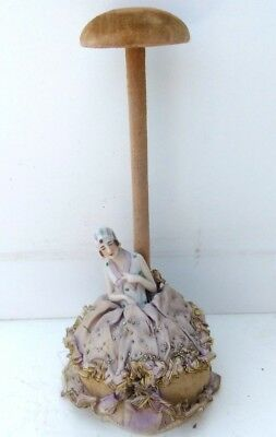 Vintage,art-deco ,millinary hatstand / pin-cushion with half doll,hat display