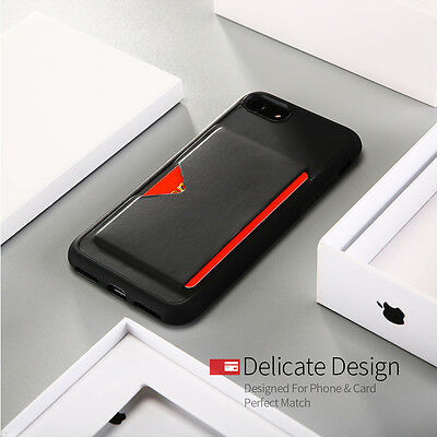 Shockproof TPU Back Case Cover With Card Slot Holder For Apple iPhone 8 7 6 Plus