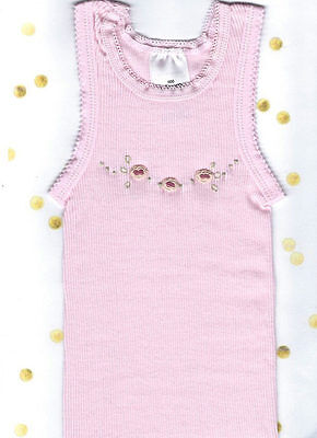 Hand Embroidered Baby Pink Rose Singlet Size 0