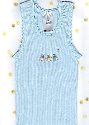 Hand Embroidered Baby Blue Rabbit Singlet Size 0