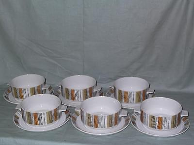 6 Midwinter Sienna 2-Handled Soup Cups or Bowls with Saucers