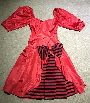 80's prom dress - Vintage party cocktail retro formal red black taffeta bow