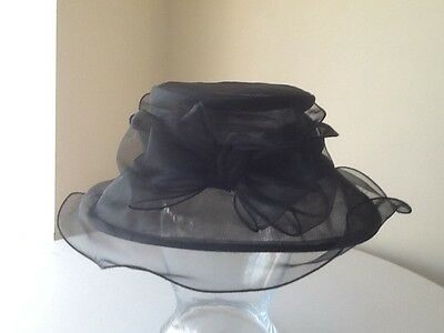 M&s Black Organza Classic Style Church Wedding Hat .mother Of The Bride Groom